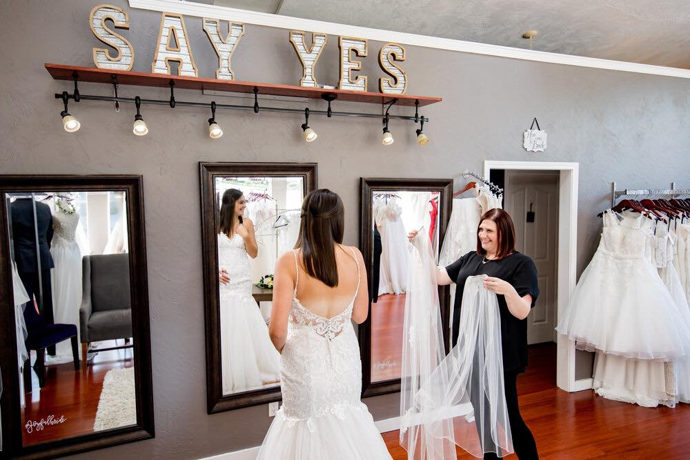 Bride and I do crew wedding dress boutique appointment.